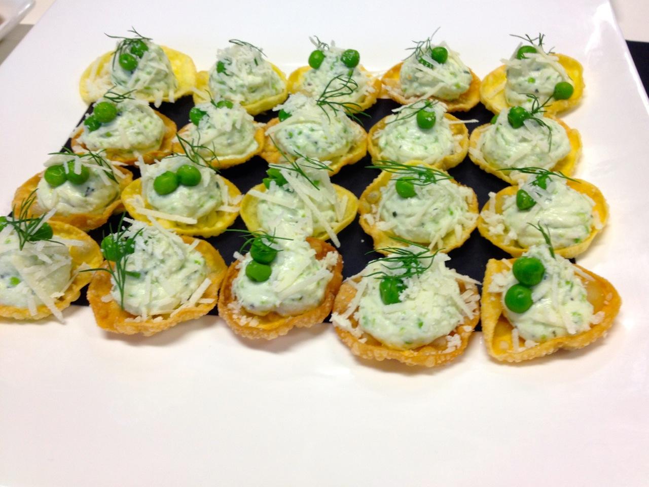 lemon scented ricotta / peas / mint & parmesan / crisp pasta