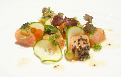 Salmon yuzu ceviche, pickled cucumber, shiso, avruga caviar
