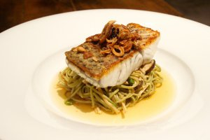 Snapper fillet with green tea noodles, asian mushrooms, sesame soy broth, fried shallot sambal