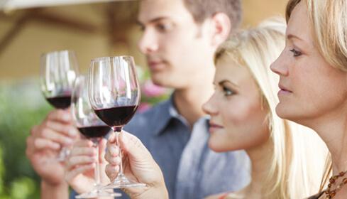 Ladies with wine glasses