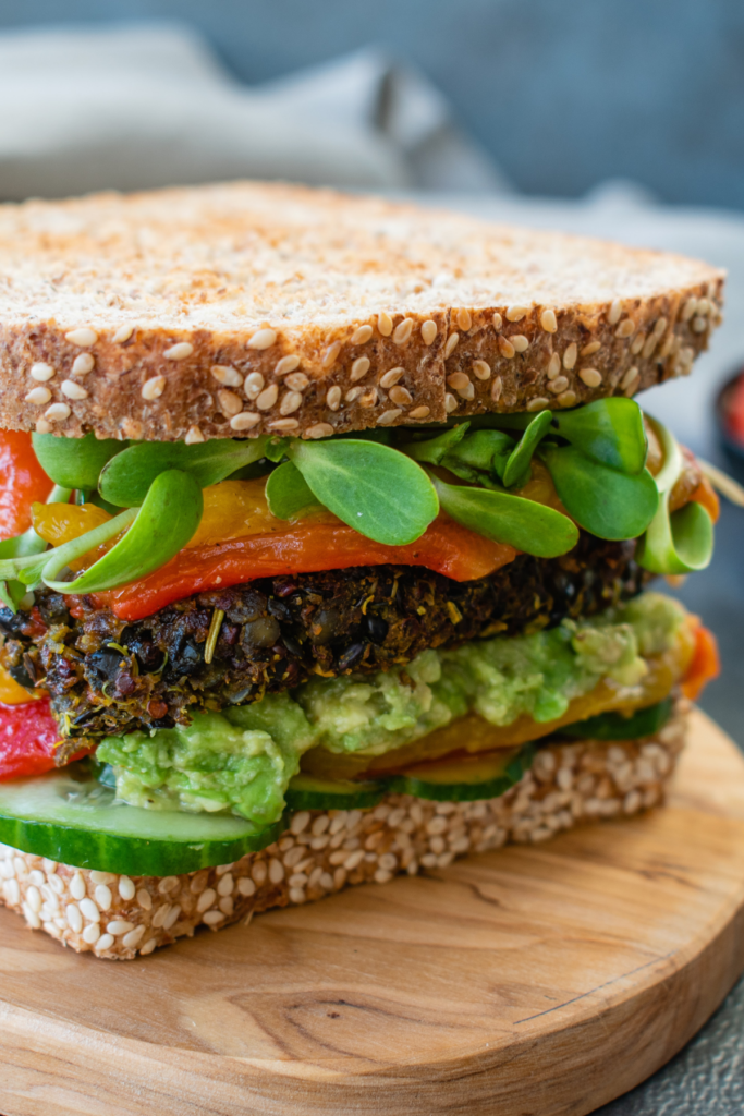 Vegan burger on seeded bread - At Your table