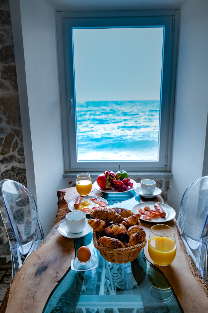 Breakfast in Airbnb with ocean view