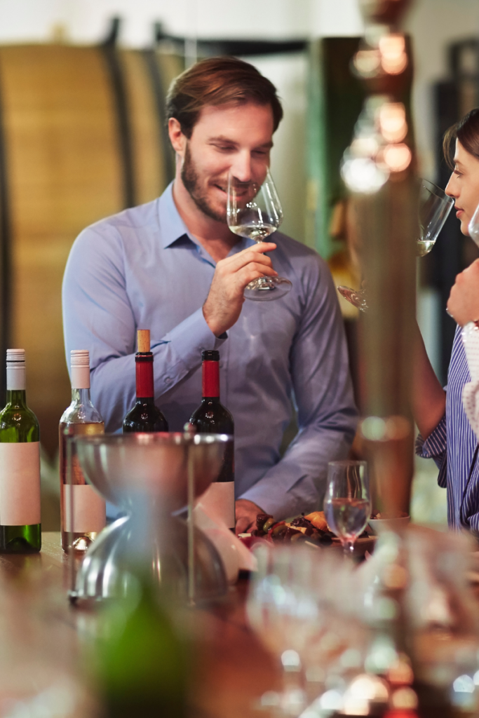 Man and woman wine tasting